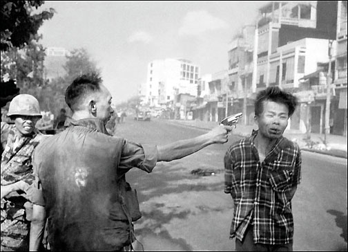 Eddie Adams pulitzer prize winning photograph of Viet Cong lieutenant being executed at close range on a Saigon street by a South Vietnamese general